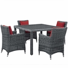 Modway Summon 5 Piece Outdoor Patio Wicker Rattan Sunbrella® Fabric Dining Set in Canvas Red MY-EEI-2316-GRY-RED-SET