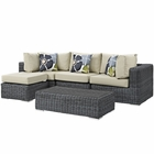 Modway Summon 5 Piece Outdoor Patio Wicker Rattan Sunbrella® Sectional Set in Canvas Antique Beige MY-EEI-2398-GRY-BEI-SET