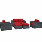 Modway Summon 5 Piece Outdoor Patio Wicker Rattan Sunbrella® Sectional Set in Canvas Gray MY-EEI-1893-GRY-RED-SET