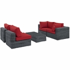 Modway Summon 5 Piece Outdoor Patio Wicker Rattan Sunbrella® Sectional Set in Canvas Gray MY-EEI-1896-GRY-RED-SET