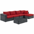 Modway Summon 5 Piece Outdoor Patio Wicker Rattan Sunbrella® Sectional Set in Canvas Gray MY-EEI-1900-GRY-RED-SET