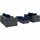 Modway Summon 5 Piece Outdoor Patio Wicker Rattan Sunbrella® Sectional Set in Canvas Navy MY-EEI-1893-GRY-NAV-SET