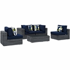 Modway Summon 5 Piece Outdoor Patio Wicker Rattan Sunbrella® Sectional Set in Canvas Navy MY-EEI-2391-GRY-NAV-SET