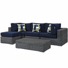 Modway Summon 5 Piece Outdoor Patio Wicker Rattan Sunbrella® Sectional Set in Canvas Navy MY-EEI-2398-GRY-NAV-SET