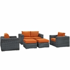 Modway Summon 5 Piece Outdoor Patio Wicker Rattan Sunbrella® Sectional Set in Canvas Tuscan MY-EEI-1893-GRY-TUS-SET