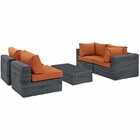 Modway Summon 5 Piece Outdoor Patio Wicker Rattan Sunbrella® Sectional Set in Canvas Tuscan MY-EEI-1896-GRY-TUS-SET
