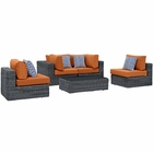 Modway Summon 5 Piece Outdoor Patio Wicker Rattan Sunbrella® Sectional Set in Canvas Tuscan MY-EEI-2391-GRY-TUS-SET