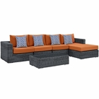 Modway Summon 5 Piece Outdoor Patio Wicker Rattan Sunbrella® Sectional Set in Canvas Tuscan MY-EEI-2395-GRY-TUS-SET