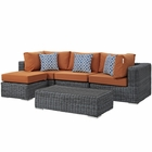 Modway Summon 5 Piece Outdoor Patio Wicker Rattan Sunbrella® Sectional Set in Canvas Tuscan MY-EEI-2398-GRY-TUS-SET