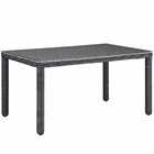 """Modway Summon 59"""" Outdoor Patio Wicker Rattan Dining Table in Gray MY-EEI-1945-GRY"""