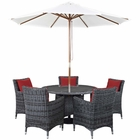 Modway Summon 7 Piece Outdoor Patio Wicker Rattan Sunbrella® Fabric Dining Set in Canvas Red MY-EEI-2328-GRY-RED-SET