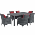 Modway Summon 7 Piece Outdoor Patio Wicker Rattan Sunbrella® Fabric Dining Set in Canvas Red MY-EEI-2330-GRY-RED-SET
