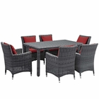 Modway Summon 7 Piece Outdoor Patio Wicker Rattan Sunbrella® Fabric Dining Set in Canvas Red MY-EEI-2334-GRY-RED-SET