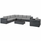 Modway Summon 7 Piece Outdoor Patio Wicker Rattan Sunbrella® Fabric Sectional Set in Canvas Gray MY-EEI-2014-GRY-GRY-SET