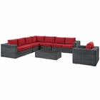 Modway Summon 7 Piece Outdoor Patio Wicker Rattan Sunbrella® Fabric Sectional Set in Canvas Red MY-EEI-2014-GRY-RED-SET