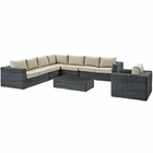 Modway Summon 7 Piece Outdoor Patio Wicker Rattan Sunbrella® Fabric Sectional Set in Gray Beige MY-EEI-2014-GRY-BEI-SET