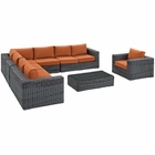 Modway Summon 7 Piece Outdoor Patio Wicker Rattan Sunbrella® Fabric Sectional Set in Gray Tuscan MY-EEI-2014-GRY-TUS-SET