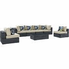 Modway Summon 7 Piece Outdoor Patio Wicker Rattan Sunbrella® Sectional Set in Canvas Antique Beige MY-EEI-2392-GRY-BEI-SET
