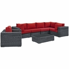 Modway Summon 7 Piece Outdoor Patio Wicker Rattan Sunbrella® Sectional Set in Canvas Gray MY-EEI-1892-GRY-RED-SET