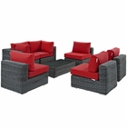 Modway Summon 7 Piece Outdoor Patio Wicker Rattan Sunbrella® Sectional Set in Canvas Gray MY-EEI-1897-GRY-RED-SET