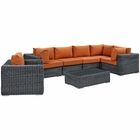 Modway Summon 7 Piece Outdoor Patio Wicker Rattan Sunbrella® Sectional Set in Canvas Tuscan MY-EEI-1892-GRY-TUS-SET