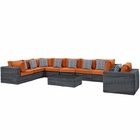 Modway Summon 7 Piece Outdoor Patio Wicker Rattan Sunbrella® Sectional Set in Gray Tuscan MY-EEI-2400-GRY-TUS-SET