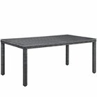 """Modway Summon 70"""" Outdoor Patio Wicker Rattan Dining Table in Gray MY-EEI-1941-GRY"""