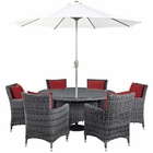 Modway Summon 8 Piece Outdoor Patio Wicker Rattan Sunbrella® Fabric Dining Set in Canvas Red MY-EEI-2329-GRY-RED-SET