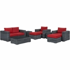 Modway Summon 8 Piece Outdoor Patio Wicker Rattan Sunbrella® Sectional Set in Canvas Gray MY-EEI-1894-GRY-RED-SET