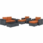 Modway Summon 8 Piece Outdoor Patio Wicker Rattan Sunbrella® Sectional Set in Canvas Tuscan MY-EEI-1894-GRY-TUS-SET