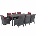 Modway Summon 9 Piece Outdoor Patio Wicker Rattan Sunbrella® Fabric Dining Set in Canvas Red MY-EEI-2331-GRY-RED-SET
