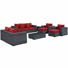 Modway Summon 9 Piece Outdoor Patio Wicker Rattan Sunbrella® Sectional Set in Canvas Gray MY-EEI-1895-GRY-RED-SET
