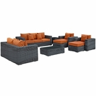 Modway Summon 9 Piece Outdoor Patio Wicker Rattan Sunbrella® Sectional Set in Canvas Tuscan MY-EEI-1895-GRY-TUS-SET