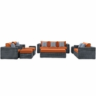 Modway Summon 9 Piece Outdoor Patio Wicker Rattan Sunbrella® Sectional Set in Canvas Tuscan MY-EEI-2390-GRY-TUS-SET