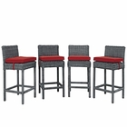 Modway Summon Bar Stools Outdoor Patio Wicker Rattan Sunbrella® Fabric Pub Set in Canvas Red MY-EEI-2198-GRY-RED-SET
