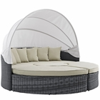Modway Summon Canopy Outdoor Patio Wicker Rattan Sunbrella® Daybed in Antique Canvas Beige MY-EEI-1997-GRY-BEI-SET