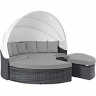 Modway Summon Canopy Outdoor Patio Wicker Rattan Sunbrella® Daybed in Canvas Gray MY-EEI-1997-GRY-GRY