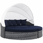 Modway Summon Canopy Outdoor Patio Wicker Rattan Sunbrella® Daybed in Canvas Navy MY-EEI-1997-GRY-NAV-SET