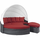 Modway Summon Canopy Outdoor Patio Wicker Rattan Sunbrella® Daybed in Canvas Red MY-EEI-1997-GRY-RED