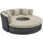 Modway Summon Circular Outdoor Patio Sunbrella® Daybed in Antique Canvas Beige MY-EEI-1995-GRY-BEI-SET