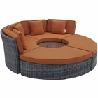 Modway Summon Circular Outdoor Patio Sunbrella® Daybed in Canvas Tuscan MY-EEI-1995-GRY-TUS-SET