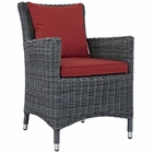 Modway Summon Dining Outdoor Patio Wicker Rattan Sunbrella® Armchair in Canvas Red MY-EEI-1935-GRY-RED