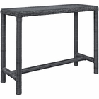 Modway Summon Large Outdoor Patio Wicker Rattan Bar Table in Gray MY-EEI-1959-GRY