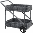 Modway Summon Outdoor Patio Wicker Rattan Beverage Cart in Gray MY-EEI-1990-GRY