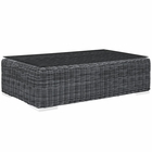 Modway Summon Outdoor Patio Wicker Rattan Glass Top Coffee Table in Gray MY-EEI-1866-GRY