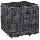 Modway Summon Outdoor Patio Wicker Rattan Glass Top Side Table in Gray MY-EEI-1867-GRY