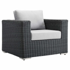 Modway Summon Outdoor Patio Wicker Rattan Sunbrella® Armchair in Canvas Gray MY-EEI-1864-GRY-GRY