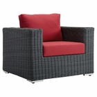 Modway Summon Outdoor Patio Wicker Rattan Sunbrella® Armchair in Canvas Red MY-EEI-1864-GRY-RED