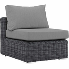 Modway Summon Outdoor Patio Wicker Rattan Sunbrella® Armless in Canvas Gray MY-EEI-1868-GRY-GRY