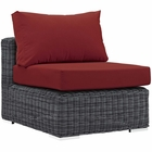 Modway Summon Outdoor Patio Wicker Rattan Sunbrella® Armless in Canvas Red MY-EEI-1868-GRY-RED